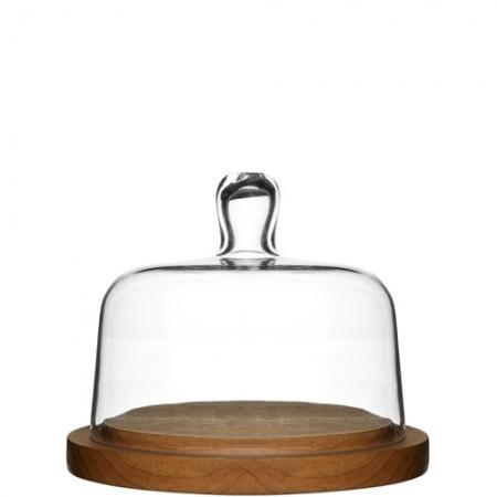 Juustokupu, jonka alusta on tammea, kansi suupuhallettua lasia.