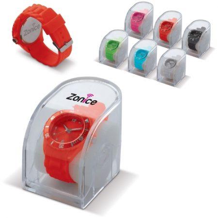 Muodikas silikonikello läpinäkyvässä muovikotelossa. Laserkaiverrus saatavana kellotaulun taakse, kotelo on mahdollista painattaa. Kellotaulun halkaisija 44 mm.