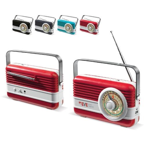 Toppointin suunnittelema FM-radio, kaiutin ja virtalähde, jossa on metallikahva. Retromalli,