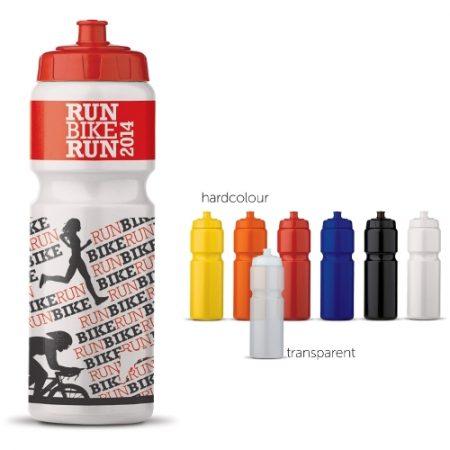Hollannissa valmistettu laadukas sporttipullo, joka on täysin tiivis. Erittäin suuri merkkausala. Osien (pullo / korkki) väri mahdollista valita.