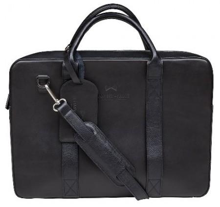 Täysin nahkainen salkku, jossa on useita hyödyllisiä taskuja ja säädettävä nahkainen olkahihna.