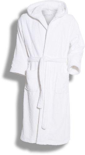 Ylellinen hupullinen kylpytakki 450 g/m² foteeta. Brodeeraus taskun päällä