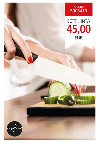 Hyvä keittiöveitsi on taitavan kokin paras ystävä. Tämä veitsisetti sisältää keraamisia veitsiä, jotka ovat erittäin teräviä, eikä niistä siirry metallinmakua ruokaan.